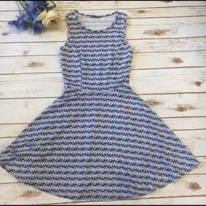 Soprano Blue and White Fit and Flare Skater Dress